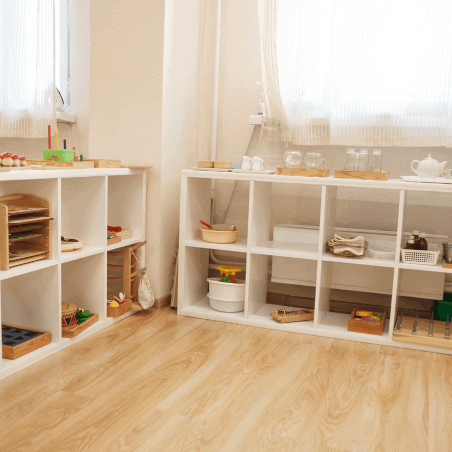 Organized playroom that invite children to play independently